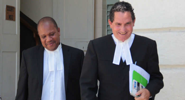 Lawyers For The Government, Grahame Bollers, Left, And Richard Williams Leave The Court After Monday'S Ruling. (Iwn Photo)
