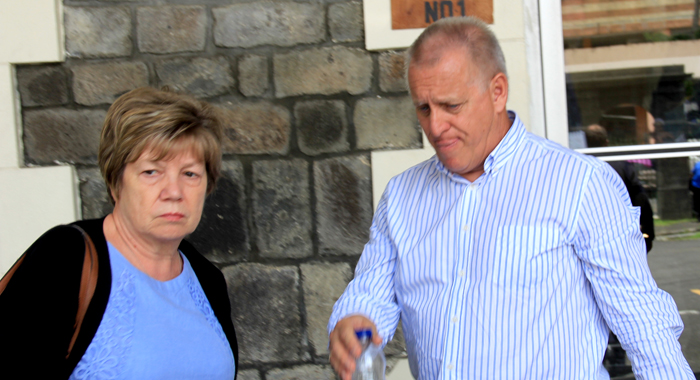 Daves Ames And His Wife, Carol Exit The High Court Building In Kingstown On Tuesday. (Iwn Photo)
