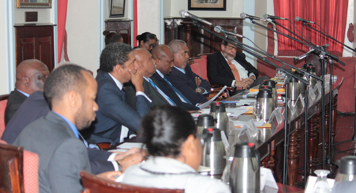 Prime Minister Dr. Ralph Gonsalves And Other Government Lawmakers In Parliament On Thursday. (Iwn Photo)