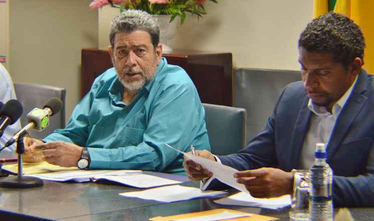 Prime Minister Ralph Gonsalves, Left, And Minister Of Technology, Camillo Gonsalves At Tuesday'S Press Conference. (Photo: Api)