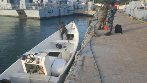 "Fishing Eessel ""Sharky"" Alongside Jdf Coast Guard Base, Onboard Is Macgyver Allick Of Svg."