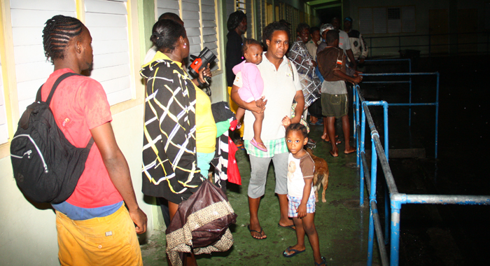 At Least 25 Persons From Buccament Bay Went Into Emergency Shelter Wednesday Night. (Iwn Photo)