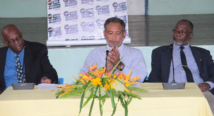 Eustace And His Vice President, Friday And Leacock At The Press Event On August 23, Where The Policy Change Was Announced. (Iwn Photo)