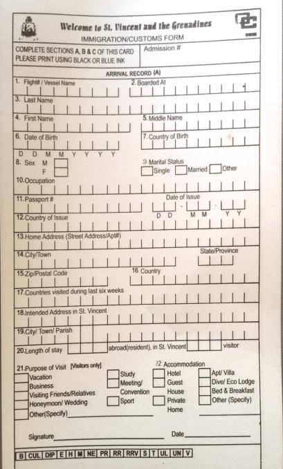 Svg Immigration/Customs Form.