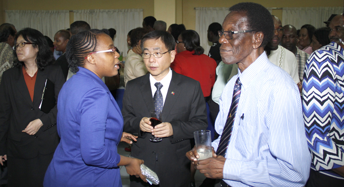 Alpian Allen, Left, Who Was Minister Of Foreign Affairs Under The Ndp From 1994 To 1998, Chats With Ambassador Ger, Centre, And Anesia Baptiste Of The Democratic Republican Party At Tuesday'S Event. (Iwn Photo)