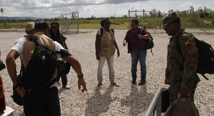 Members Of The Cdema Team Arrived At The Eoc In Les Cayes For Mondays Multi-Sectoral Meeting. (Photo: Cmc/Iwn)