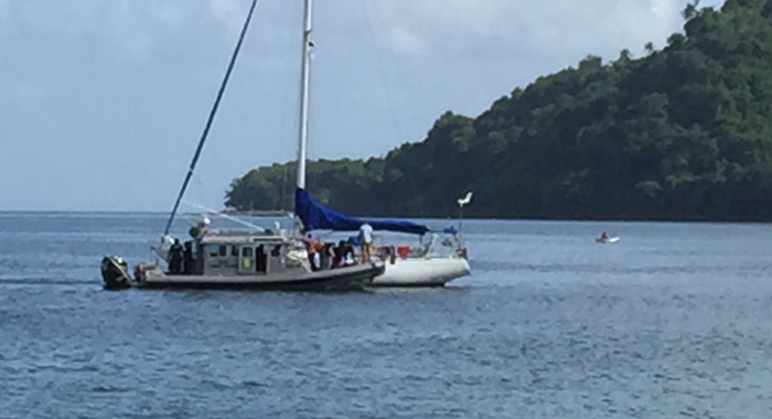 Coast Guard And The Yacht In Chateaubelair.
