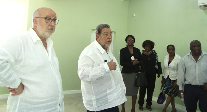 Pm Gonsalves With Education Officials And Achille Pastor Ris Representing Developer