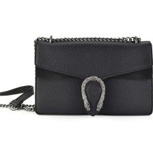 Μαύρη τσάντα ώμου με αλυσίδα 17030
