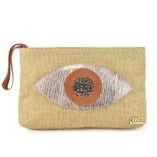 Τσάντα χειρός Dolce σε φυσικό χρώμα με δερμάτινο σχέδιο μάτι 18BAG26L