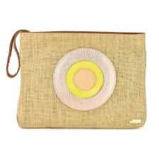 Τσάντα χειρός Dolce σε φυσικό χρώμα με δερμάτινο στρογγυλό σχέδιο μάτι 18BAG39L