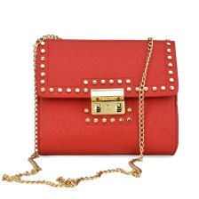 Κόκκινη τσάντα ώμου με αλυσίδα 8802