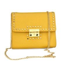 Κίτρινη τσάντα ώμου με αλυσίδα 8802
