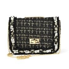 Μαύρη τσάντα ώμου με αλυσίδα 8803