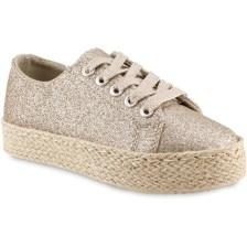 Χρυσό μεταλλικό παιδικό sneakers Doremi 66-2