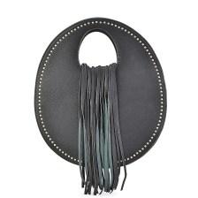 Μαύρη τσάντα χειρός με κρόσσια 6933