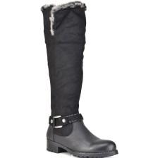 Μαύρη μπότα με λεπτομέρεια απο γούνα F2166