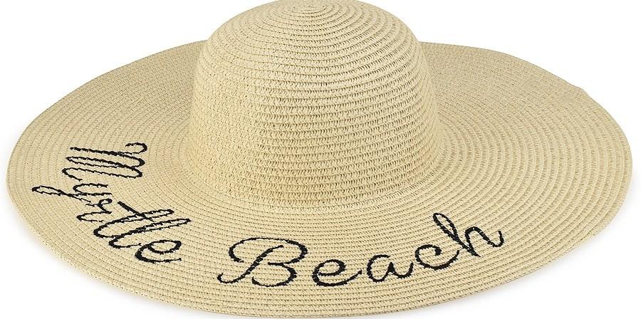 Μπεζ γυναικείο ψάθινο καπέλο