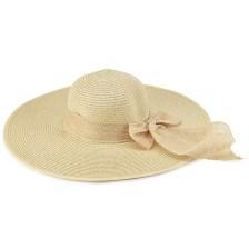 Μπεζ γυναικείο ψάθινο καπέλο με κορδέλα