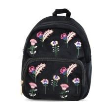 Μαύρο μικρό βελούδινο σακίδιο πλάτης με λουλούδια P1272