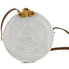 Λευκή ψάθινη τσάντα ταχυδρόμου SANDRA