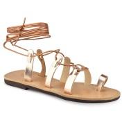 Tsakiris Sandals Δερμάτινο χάλκινο σανδάλι με κορδόνια Tsakiris Sandals TS52 2018