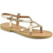 Δερμάτινο χρυσό σανδάλι Tsakiris Sandals TS02