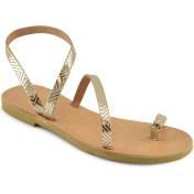 Δερμάτινο χρυσό σανδάλι με γραμμικό μοτίβο Tsakiris Sandals TS101
