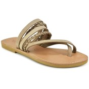 Tsakiris Sandals Δερμάτινη μπεζ σαγιονάρα Tsakiris Sandals TS1025 2018