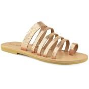 Tsakiris Sandals Δερμάτινη χάλκινη σαυρέ σαγιονάρα Tsakiris Sandals TS1028 2018