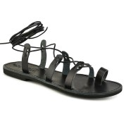 Tsakiris Sandals Δερμάτινο μαύρο σανδάλι με κορδόνια Tsakiris Sandals TS52 2018