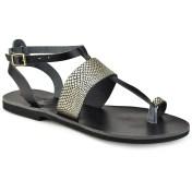 Tsakiris Sandals Δερμάτινο μαύρο με χρυσό σαυρέ σανδάλι Tsakiris Sandals TS608 2018