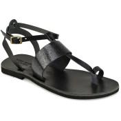 Tsakiris Sandals Δερμάτινο μαύρο με glitter σανδάλι Tsakiris Sandals TS608 2018