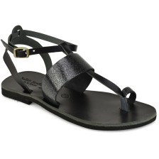 Δερμάτινο μαύρο με glitter σανδάλι Tsakiris Sandals TS608