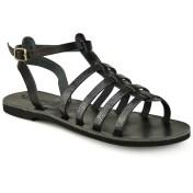 Tsakiris Sandals Δερμάτινο μαύρο σανδάλι με glitter Tsakiris Sandals TS651 2018