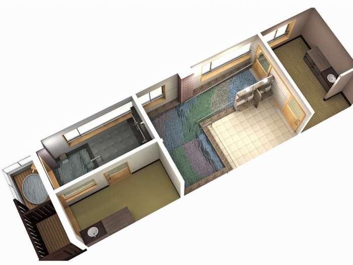 【心湯の宿SAZANA】貸切展望風呂「海のしらべ 」見取り図