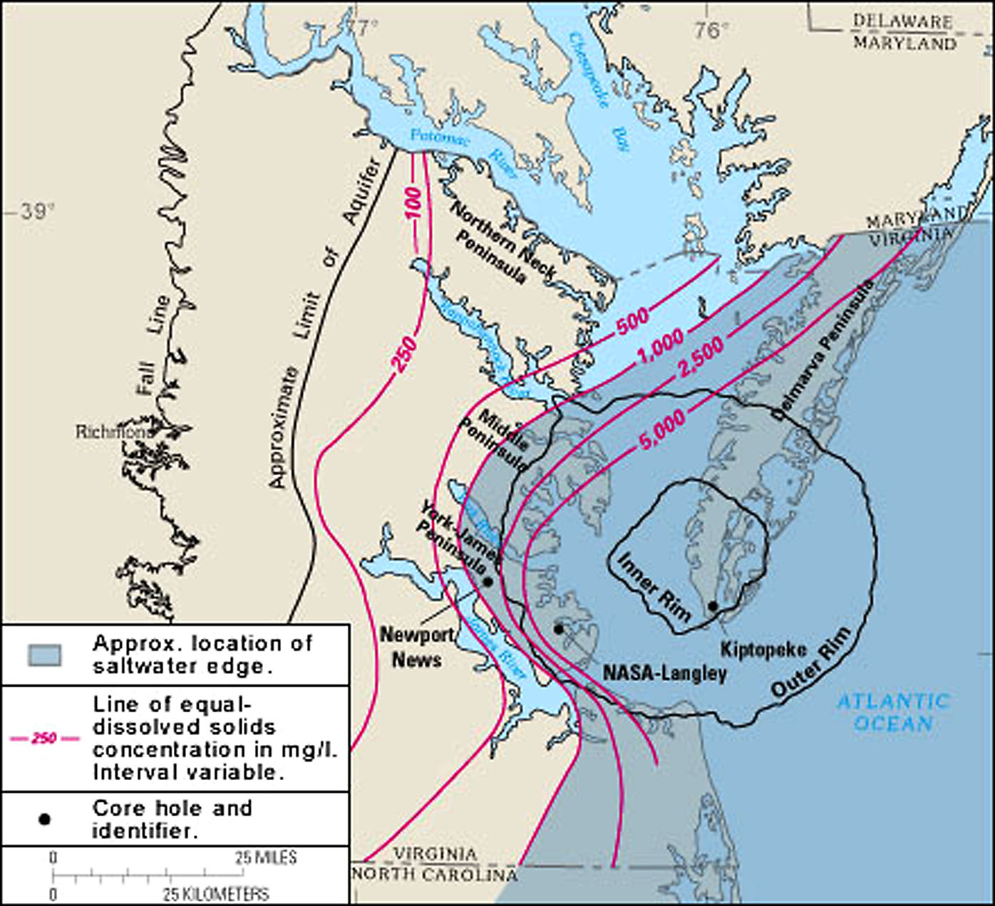 hight resolution of boundaries of the chesapeake bay impact crater u s geological survey wikimedia commons