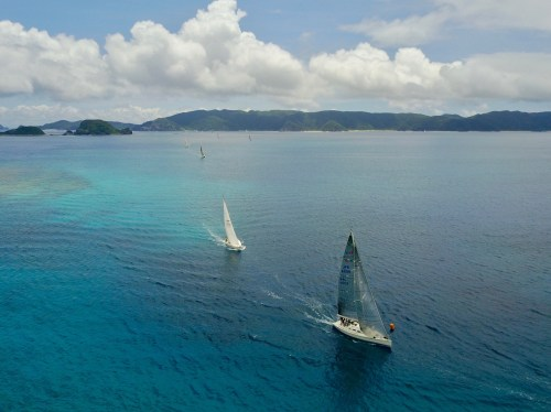 small resolution of clean lines class i yachts round the buoy in furuzamami bay near the end of