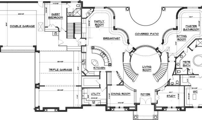 Double Staircase Floor Plans House Plans 40060   Grand Staircase House Plans   Curved Staircase   3 Car Garage   Acadian Home Interior   Single Story   1800 Square Foot