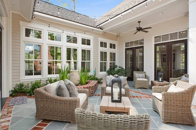 private courtyard traditional patio new
