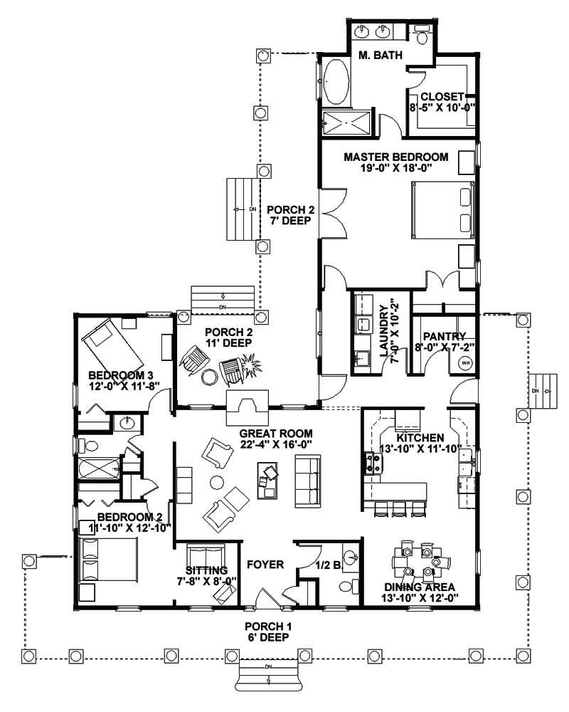 Single Story Wrap Around Porch : single, story, around, porch, Floor, Plans, Around, Porch, Jolly, House