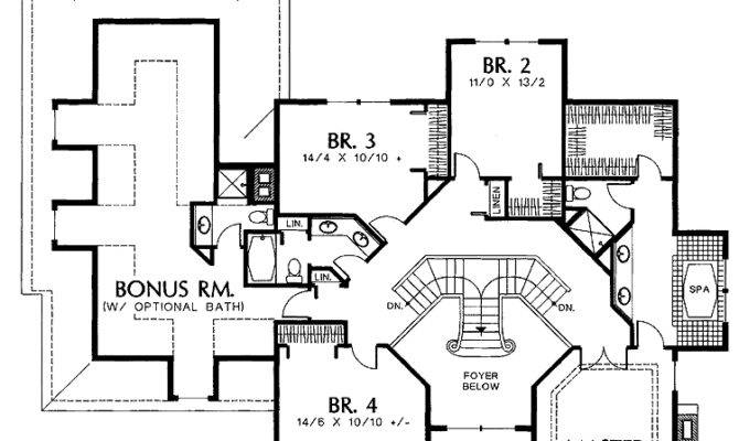 Showing Double Staircase Floor Plans House Plans 40063   Grand Staircase House Plans   Curved Staircase   3 Car Garage   Acadian Home Interior   Single Story   1800 Square Foot