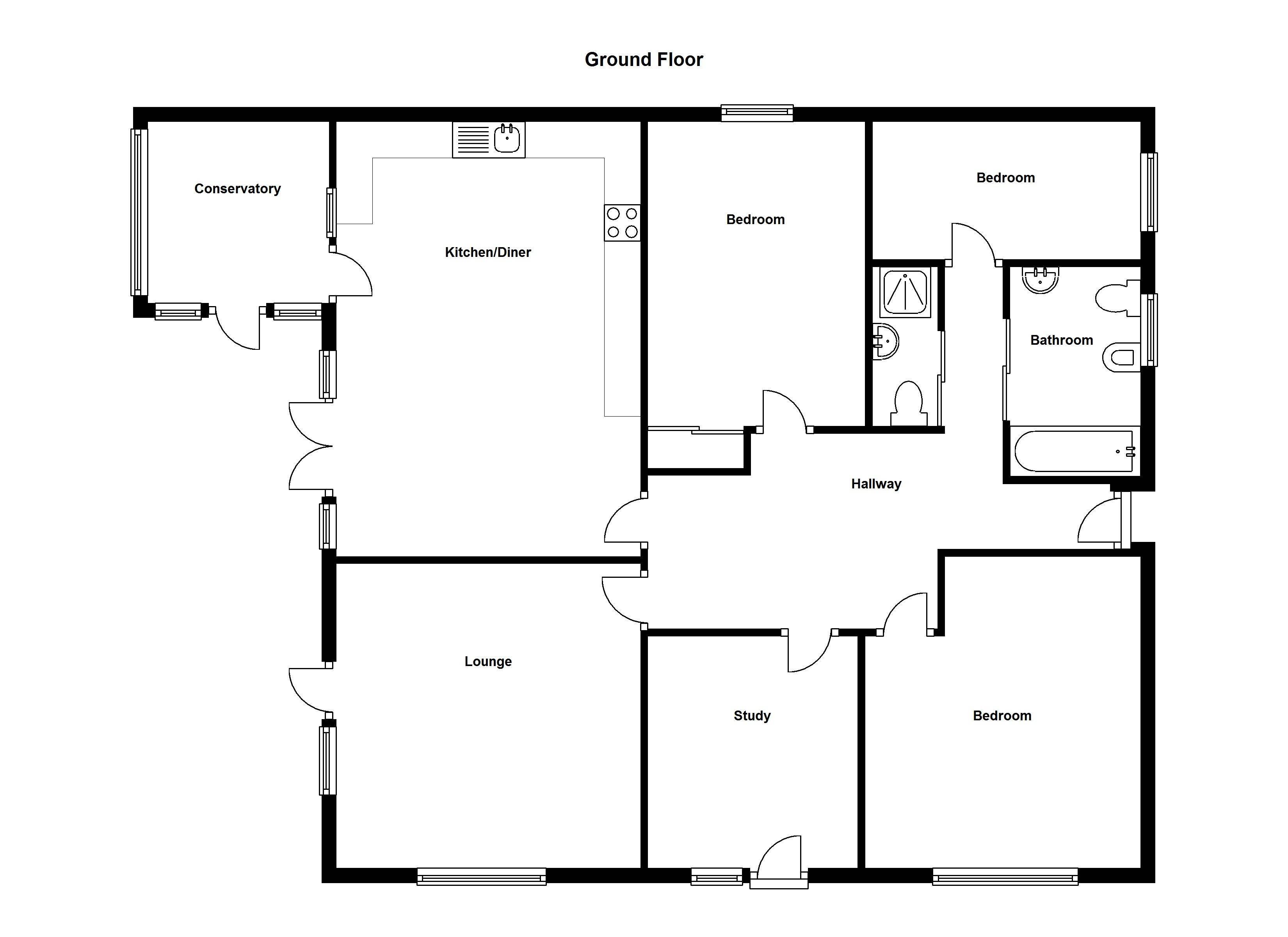 Floor Plan Simple Four Bedroom House Plans Novocom Top