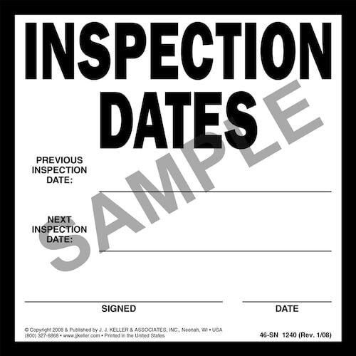 Inspection Dates Label