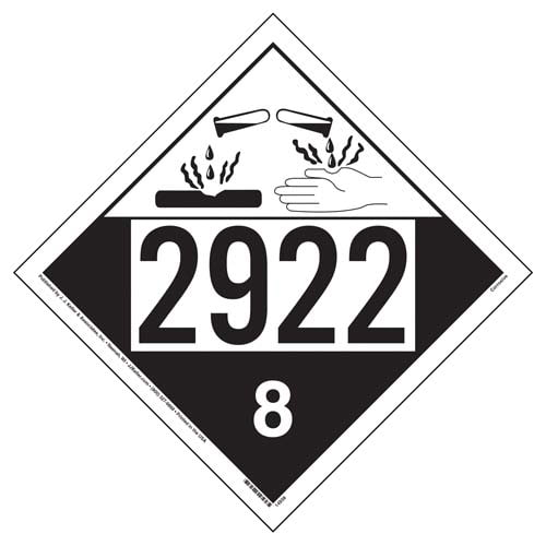 2922 Placard  Class 8 Corrosive