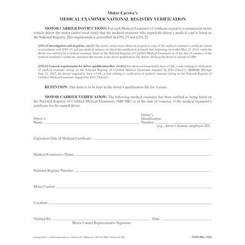 Medical Examiner's National Registry Verification - Padded Format