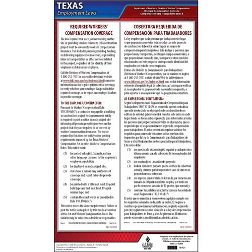 texas notice 8 required workers compensation coverage poster