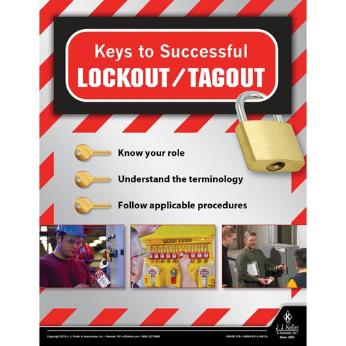 keys to successful lockout tagout workplace safety training poster