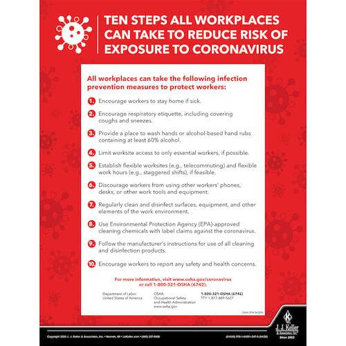 coronavirus 10 step prevention osha poster