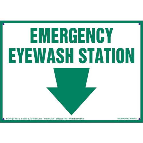 Eye wash station signs inform your employees where to go in case of eye emergencies. Emergency Eyewash Station Sign